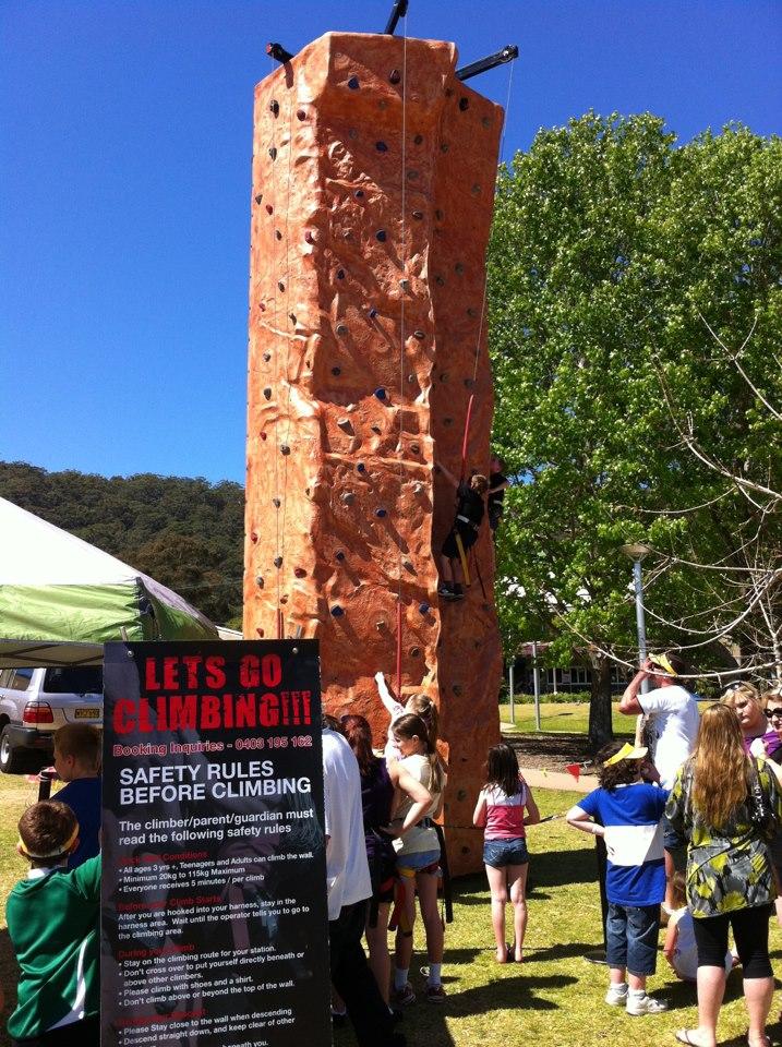 rock climbing wall setup at an event